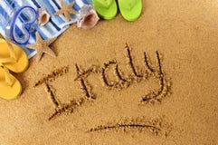 Escritura de la playa de Italia Fotografía de archivo libre de regalías