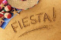 Escritura de la playa de la fiesta Imágenes de archivo libres de regalías