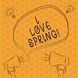 Escritura de la primavera del amor del showingI de la nota Afecto de exhibición de la foto del negocio para la estación del año d stock de ilustración