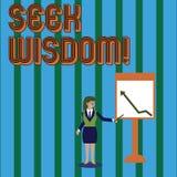 Escritura de la sabidur?a de la b?squeda de la demostraci?n de la nota Capacidad de exhibici?n de la foto del negocio de pensar a ilustración del vector