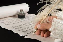 Escritura de un poema Imágenes de archivo libres de regalías