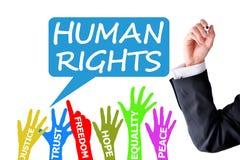 Escritura del abogado de los derechos humanos en el fondo blanco imagen de archivo