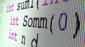Escritura del código de C++ (cercana para arriba en una pantalla de TFT) almacen de video