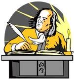 Escritura del caballero en el escritorio Imágenes de archivo libres de regalías
