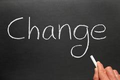 Escritura del cambio en una pizarra. Fotografía de archivo libre de regalías