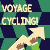 Escritura del ciclo del viaje de la demostraci?n de la nota Uso de exhibici?n de la foto del negocio de las bicicletas para la re stock de ilustración