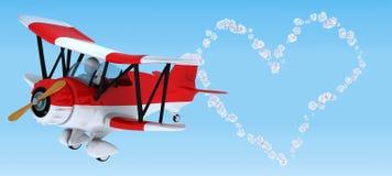 Escritura del cielo del hombre en un biplano ilustración del vector