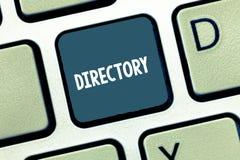 Escritura del directorio de la demostración de la nota Libro de exhibición o página web de la foto del negocio que enumera organi foto de archivo libre de regalías