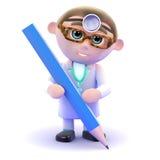 escritura del doctor 3d con un lápiz Foto de archivo
