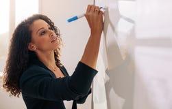 Escritura del empresario de la mujer en whiteboard en oficina foto de archivo