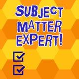 Escritura del experto del tema de la demostración de la nota Persona de exhibición de la foto del negocio que es una autoridad en stock de ilustración