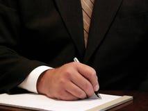 escritura del hombre de negocios Fotografía de archivo libre de regalías