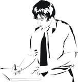 Escritura del hombre de negocios en el papel Imagenes de archivo