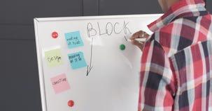 Escritura del hombre de negocios en whiteboard en la oficina almacen de video