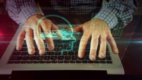 Escritura del hombre en el teclado del ordenador port?til con aislamiento cibern?tica