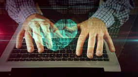 Escritura del hombre en el teclado del ordenador portátil con el corazón cibernético metrajes