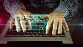 Escritura del hombre en el teclado del ordenador port?til con el reproductor multimedia
