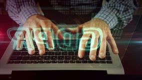 Escritura del hombre en el teclado del ordenador port?til con el holograma del gdpr almacen de metraje de vídeo