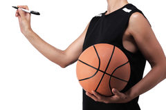 Escritura del jugador de básquet Foto de archivo libre de regalías