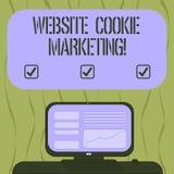 Escritura del márketing de la galleta de la página web de la demostración de la nota Información de la foto del negocio y penetra stock de ilustración