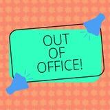 Escritura del showingOut de la nota de la oficina La foto del negocio que muestra fuera del trabajo nadie en ocio de la rotura de stock de ilustración