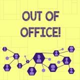 Escritura del showingOut de la nota de la oficina La foto del negocio que muestra fuera del trabajo nadie en ocio de la rotura de ilustración del vector