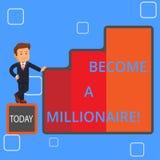 Escritura del texto de la escritura hecha un millonario Individuo del significado del concepto cuya riqueza es igual o excede de  ilustración del vector