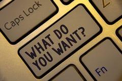 Escritura del texto de la escritura qué usted quieren la pregunta La necesidad de la reflexión de la aspiración del significado d foto de archivo libre de regalías