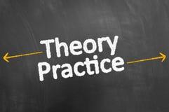Escritura del texto de la tiza de la práctica de la teoría en la pizarra o la pizarra fotografía de archivo libre de regalías