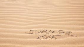 Escritura 2015 del verano en la arena Imágenes de archivo libres de regalías