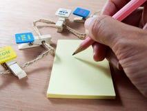 Escritura en el papel de nota con los clips de papel Fotos de archivo libres de regalías