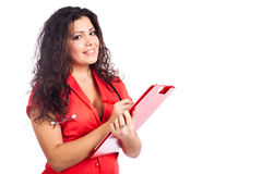 Escritura feliz del doctor de la enfermera o de la mujer en el sujetapapeles Imagen de archivo libre de regalías