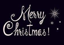 Escritura hermosa de la Feliz Navidad con un cepillo para la enhorabuena Fotos de archivo libres de regalías