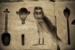 Escritura jeroglífica en Karnak, Egipto. Fotos de archivo
