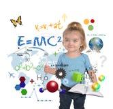 Escritura joven del genio de la muchacha de la ciencia de la matemáticas Imágenes de archivo libres de regalías