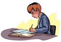 Escritura joven del muchacho Foto de archivo libre de regalías