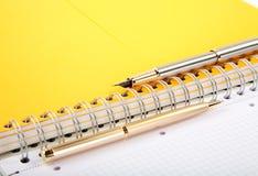 Escritura-libro del bolígrafo y de la pluma Imagenes de archivo