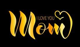Escritura, mamá, te amo El texto es de oro, aislado en un fondo negro libre illustration