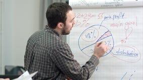 Escritura masculina del oficinista en un flipchart con el marcador almacen de metraje de vídeo