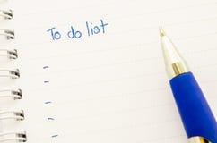 Escritura PARA HACER la lista Imágenes de archivo libres de regalías