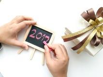 Escritura por el Año Nuevo 2017 del aniversario Foto de archivo libre de regalías