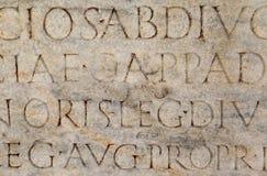 Escritura romana en Ephesus, Turquía Imágenes de archivo libres de regalías