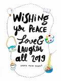 Escritura 2019, tarjeta de la mano de la caligrafía de la Feliz Año Nuevo de los deseos del Año Nuevo imagen de archivo libre de regalías