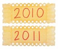 escrituras de la etiqueta 2010 y 2011 de Handwriten Fotografía de archivo