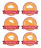 Escrituras de la etiqueta anaranjadas de la venta del otoño y del rojo retras - grunge Fotos de archivo libres de regalías