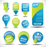 Escrituras de la etiqueta azules y verdes de la oferta especial y de la venta Imagen de archivo libre de regalías