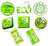 Escrituras de la etiqueta bio y del eco Fotografía de archivo