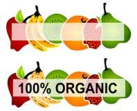 Escrituras de la etiqueta brillantes 2 del alimento biológico Imágenes de archivo libres de regalías