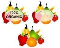 Escrituras de la etiqueta brillantes del alimento biológico stock de ilustración