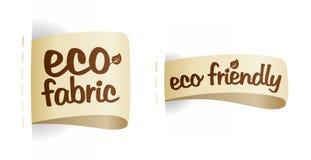 Escrituras de la etiqueta cómodas de la tela del producto de Eco. Fotografía de archivo libre de regalías